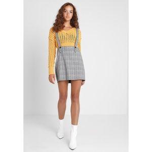 Gray Checkered Pinafore Jumper Dress
